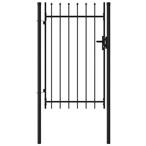 Garden Fence Gate Single Door with Spike Top Steel, Black,gainst Rust and Corrosion,by BIGTO(3 Keys) (Overall Size:100x200 cm,Gate Panel Height:150 cm)