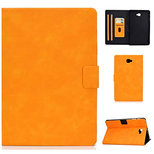 QGT for Samsung Galaxy Tab A 10.1 (2016) T580/T585 Cowhide Texture Horizontal Flip Leather Case with Holder & Card Slots & Sleep/Wake-up Function (Color : Khaki)