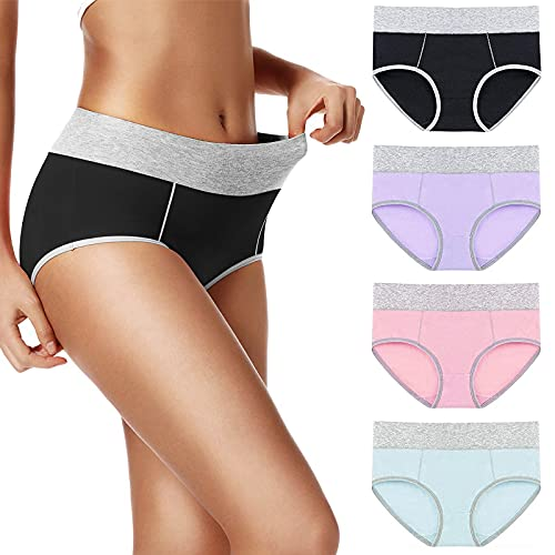 UMMISS Underwear for Women Cotton High Waisted Soft Comfy Stretch Full Coverage Ladies Breifs Womens Underwear Cotton Panties S 4 Pack