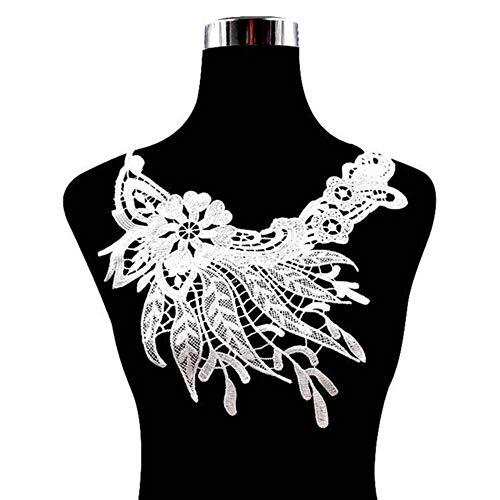 WOOAI 1pc Hochwertige weiße Spitze Stoff Brosche gewebte Stickerei Kragen Blume Hohlkragen DIY Applique Ausschnitt für Nähzubehör, weiß
