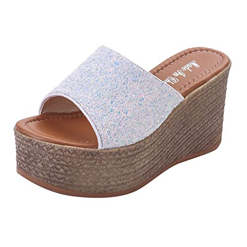 Sylar Chanclas de baño para Mujer,Zapatillas de Mujer Moda Interior al Aire Libre Slip-On Open Toe Wedges Warm Winter Slipper Shoes