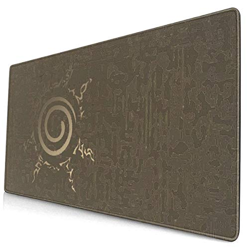 Best Laptop Mac Naruto Uzumaki Nine Tails Seal Symbol Mouse Pad with Rubber Base Ultra Large Anti-Slip Mouse Mat Vintage Gaming Desk Pad for Desktop