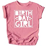 Olive Loves Apple Birthday Girl Square with Hearts Birthday T-Shirts and Raglans for Any Age Birthday White on Mauve Shirt 5-6