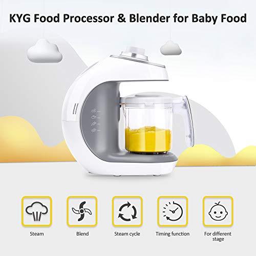 Babynahrungszubereiter KYG BFP-1800MT 5 in 1 Dampfgarer und Mixer für Babynahrung mit Dampfgaren Mixen Erwärmen Auftauen und Sterilisieren 220-240 V Baby Küchenmaschine (weiß) - 2