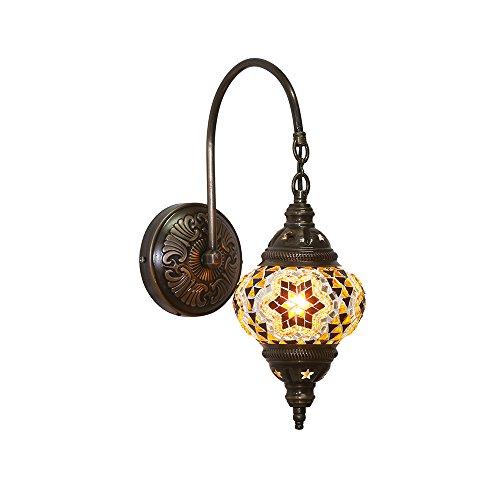 Handgemaakte Turkse Lamp Marokkaanse Ottomaanse Stijl Mozaïek Ovaal Mozaïek Zwaan Wandlamp Thuis Slaapkamer Restaurant Cafe Decoratie Licht Grootte 2 Bruin Amber Ster