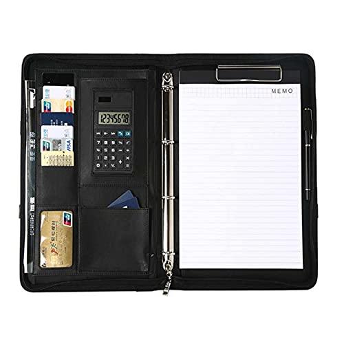 Cartellina per conferenze esecutive, colore nero, formato A4, porta carte in ecopelle con maniglia per calcolatrice, organizer pieghevole per scrivere documenti