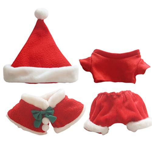 ABOOFAN 4 Unids Conjunto de Ropa de Mueca de Navidad Ropa de Mueca de Navidad Mantn Sombrero Pantalones Cortos Conjunto de Camiseta para Decoracin de Fiesta de Vacaciones