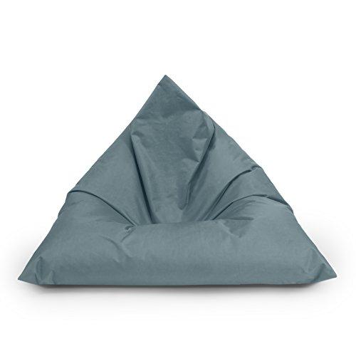 BuBiBag Sitzsack Dreieck Beanbag Sitzkissen für In & Outdoor 100x70x70cm bis 160x120x120cm mit Styropor Füllung in 23 versch. Farben (160cm x 120cm x 120cm, anthrazit)
