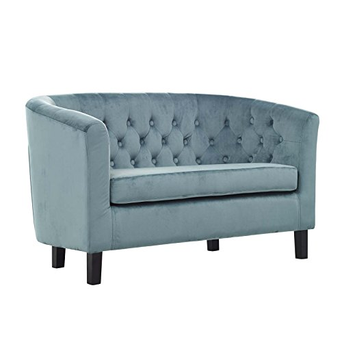 Modway EEI-2615 Prospect Velvet Upholstered Contemporary Modern Loveseat In Sea Blue