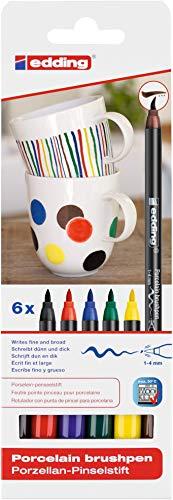 edding 4200 Porzellanpinselstift - bunte Farben - 6 Stifte - Pinselspitze 1-4mm - Filzstift zum Beschriften, Dekorieren von Keramik Porzellan - spülmaschinenfest lichtechte Tinte, schnell trocknend