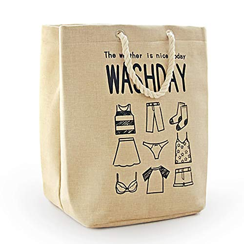 MgDa(メダ)洗濯かご ランドリーバスケット 取って付き 撥水 大容量 折り畳み式 綿麻生地 収納ボックス 軽量 省スペース (55L ベージュ)
