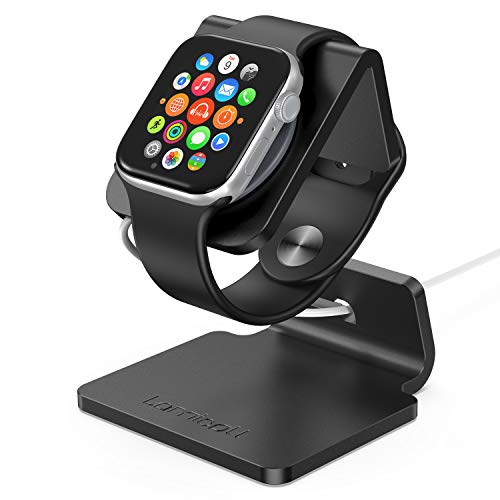 Lamicall Ladestation für Apple Watch, Charging Dock Station : Halterung Ständer kompatibel mit Apple Watch Series 5/4 / 3/2 / 1 - Schwarz