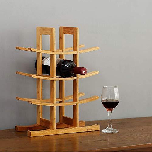 Botellero De bambú para 12 Botellas de Vino Apilable Botellero Estante de Vino con 4 Niveles Madera de Color Natural 29 X 16 X 42 Cm