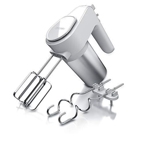 Arendo - Elektrischer Handmixer Edelstahl 400 W - Handrührer mit 5 Geschwindigkeiten inkl. Turbofunktion Edelstahl - inkl. 2 Knethaken aus Edelstahl – ergonomisches Gehäuse – Thermosicherung