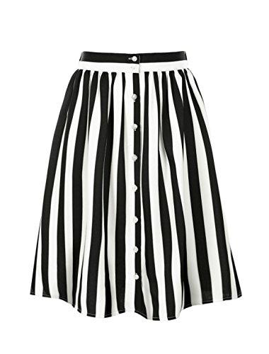 Allegra K Women's Striped Button Front Elastic Back Waist A-Line Midi Skirt XL Black