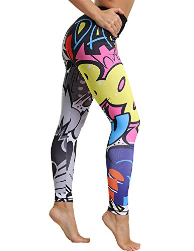 Mallas Deporte Mujer Leggins Yoga Pantalón Medias Deportivas Patrón de Dibujos Animados Gym Pantalones Deportivos Elástico Polainas para Running Pilates Fitness Ejercicio (Multicolor, S)