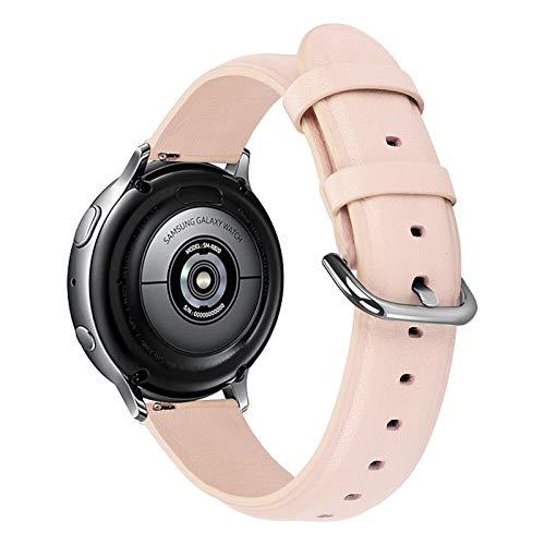 DXFFOK Banda de Reloj de Cuero Genuino de 20 mm 22 mm para Samsung Galaxy Watch 42mm 46mm Active 2 Gear S3 Strap Band Pulsera para Huawei Watch GT (Band Color : Pink, Band Width : 20mm)