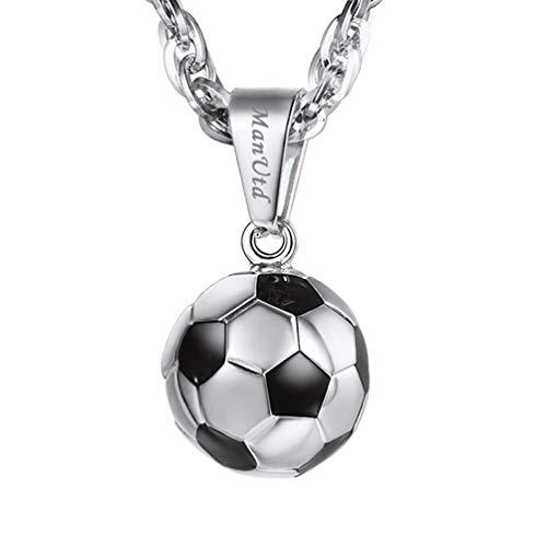 PROSTEEL 3D Fußball Design Anhänger Halskette 18k vergoldet Edelstahl Ball Form Kettenanhänger mit Kette Damen Herren Halsschmuck, Gold