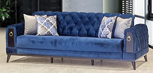 Casa Padrino sofá Cama Chesterfield Azul/Negro/Oro 222 x 90 x A. 80 cm - Sofá de salón Moderno - Muebles Chesterfield - Muebles de Salón