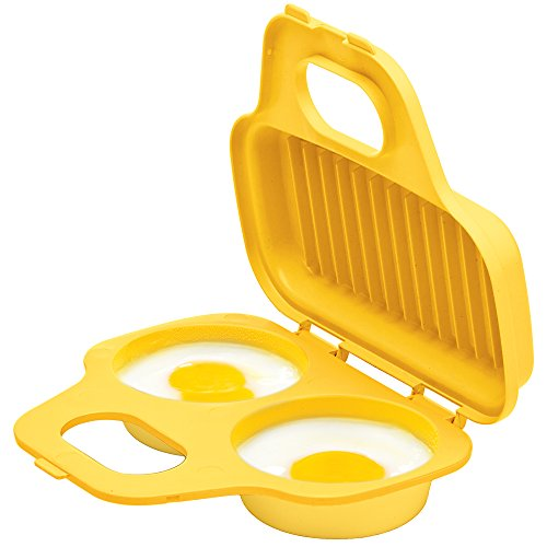 Prep Solutions by Progressive Microwave Egg Poacher, Yellow Easy-To-Use, Low-Calorie Breakfasts, Lunches And Dinner, Dishwasher Safe