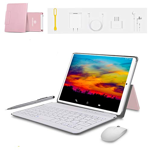 Tablet 10 Pulgadas 4G FHD 64GB de ROM 4GB de RAM Android 9.0 Tablet PC Procesador de Quad Core Batería de 8500mAh Dual SIM Dual 8MP Cámara WiFi Bluetooth GPS OTG (Rosa)