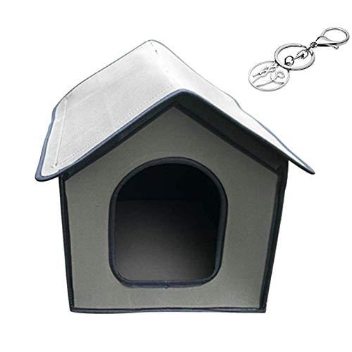 Katzenhaus Für Draußen Winterfest,Outdoor Katzenhöhle Für Katzen,Pet Outdoor House Wasserdichtes Wetterfestes Katzenhaus Faltbares Tierheim Für Haustiere (Schlüsselbund senden)