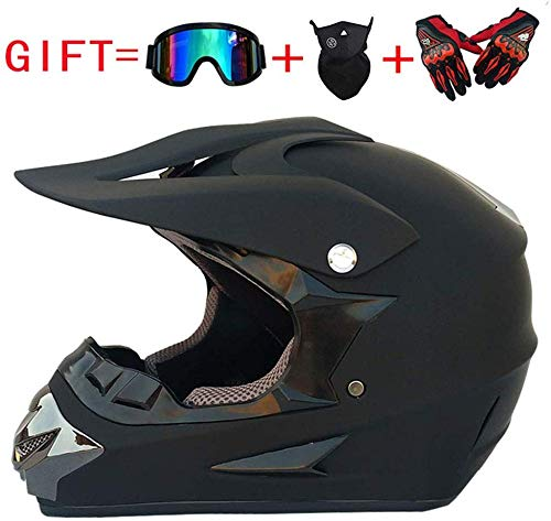 CHEYAL Adult Motocross Helm MX Motorradhelm ATV Scooter ATV Helm D. O. T Zertifiziert Rockstar Multicolor mit Brillen Handschuhen Maske Stierkampf (S, M, L, XL),L