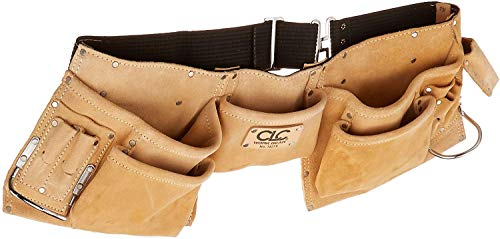 CLC Custom Leathercraft I427X Heavy Duty Contractor-Grade Suede Leather Work Apron, 2 Steel Hammer Loops, 12 Pockets