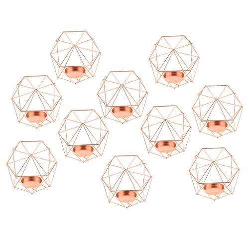 HomeDecTime Teelichthalter Rosegold Metall 10pcs Kerzenhalter Kerzenständer Tischdeko Gastgeschenke Hochzeitsdeko
