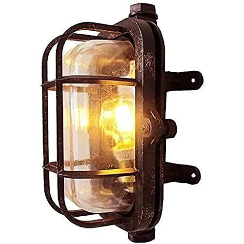 IBalody E27 Lampada da Parete Industriale retrò Luci da Paratia Ovale in Alluminio Paralume in Vetro Applique da Parete Esterno Tradizione Vittoriana Lanterna Decorazioni Rustiche Illuminazione