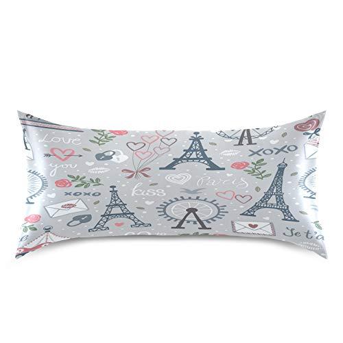 HaJie Funda de almohada romántica de satén de la Torre Eiffel de Londres, 100% poliéster, funda de almohada para cabello y piel, tamaño estándar 50,8 x 101,6 cm, 1 unidad