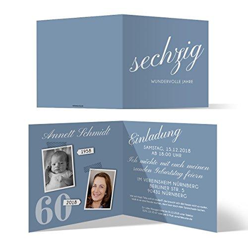 30 x Runder 60. Geburtstag Einladungskarten Geburtstagseinladungen - sechzig wundervolle Jahre