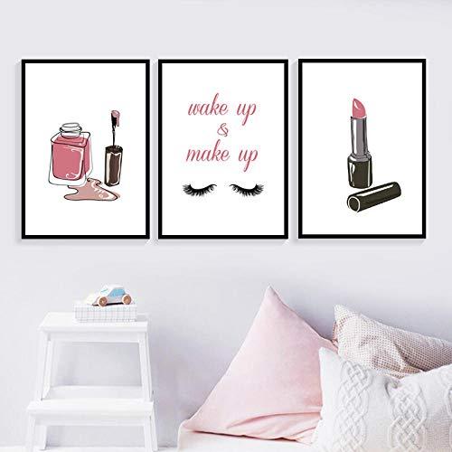 WXDQ Lippenstift Wimpern Nagellack Make-up Gemälde Bilder Leinwanddrucke Wandkunst Poster Mode Mädchen Zimmer Dekor-40x60cmx3 STK. Kein Rahmen