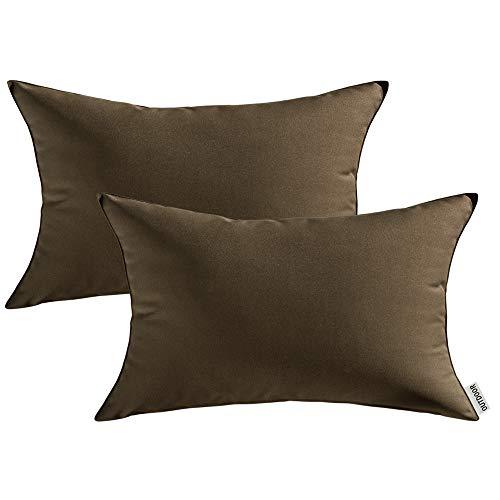 MIULEE Packung von 2 wasserdichte Sofa Kissenbezug Kissenhülle im freien Set Kissen Fall für Sofa Schlafzimmer 12x20 inch 30x50cm Brown