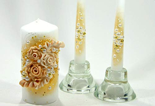 Magik Life Unity Candle Set for Wedding - Wedding Accessories for Reception and Ceremony - Candle Sets - 6 Inch Pillar and 2 10 Inch Tapers - Decorative Pillars Gold