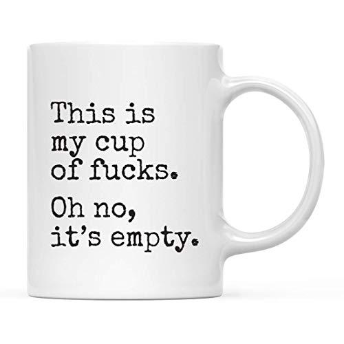 N\A 11 oz. Regalo Divertido de la Taza de café Grosero, Estilo máquina de Escribir, Esta es mi Taza de follar. Oh no, está vacío, Paquete de 1