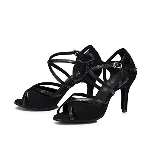 WYMNAME Womens Latin Tanzschuhe,High Heels [leise unten] Soziale Tanzschuhe Internationalen Standard Gesellschaftstanz Schuhe-schwarz Fußlänge=22.8CM(9Inch)