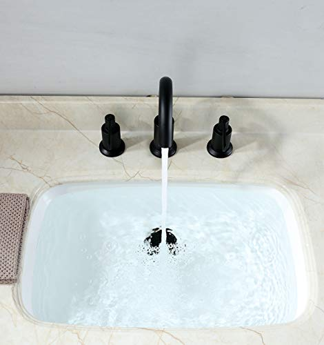 """Derengge LFS-0188-MT 8"""" Two Handle Widespread Bathroom Sink Faucet with Pop up Drain, Meets UPC cUPC NSF AB1953 Lead Free, Matte Black"""