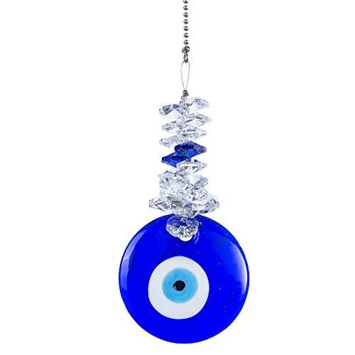 Yu Feng - Adorno colgante con el ojo turco y la mano de Fátima, color azul