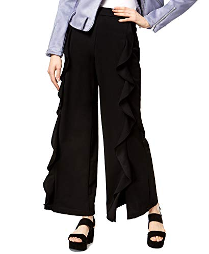 Price comparison product image bar III Womens Ruffled Casual Wide Leg Pants,  Black,  Small