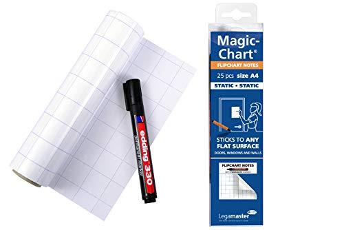 Legamaster 7-159000-A4 Magic-Chart Flipchart DIN A4, elektrostatische Folie für verschiedene Oberflächen, gerollt 25 Blatt (je 29,7 x 21 cm) + Marker