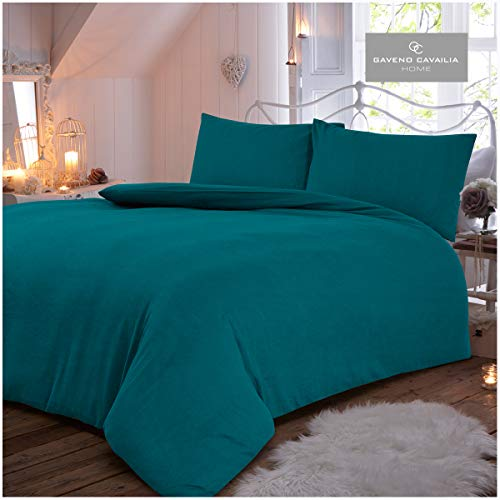 Gaveno Cavailia Plain Dyed Flannel Duvet Set Teal King, 100% Brushed Cotton Flanneltte Bedding, 3 Piece Cosy Warm Bedlinen, Easy Care DuvetCover Bedset, 1 Quilt Cover and 2 Pillow Cases
