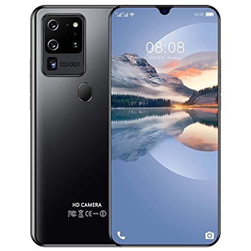 Android 10 Teléfono Móvil Libres, 5600mAh Baterí 4GB+64GB 128GB Ampliables, 5G Smartphone 7.1 Pulgadas Cámara 32MP+48MP, Huella Digital/Face ID/GPS,Negro
