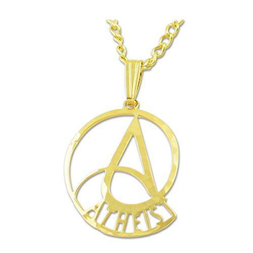 """EvolveFISH Nautilus Circle A for Atheist Necklace - [Gold][7/8"""" Tall]"""