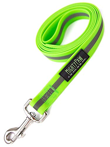 Mighty Paw Waterproof Dog Leash | 6 Foot Smell-Proof Pet Lead, Coated Nylon Webbing with Reflective Safety Stripe for Added Visibility. Perfect for Swimming, Camping, Hiking and The Beach (Green)
