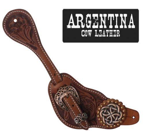 Showman Mens Size Argentina Cow Leather Celtic Knot Spur Straps! New Horse TACK!
