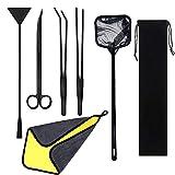 Cayway 7 PCS Herramientas de Acuarios de Acero Inoxidable, Aquarium Aquascaping Kit, Kit de Tanque de Acuario Pinzas Tijera Espátula Herramientas Set para Planta Acuática