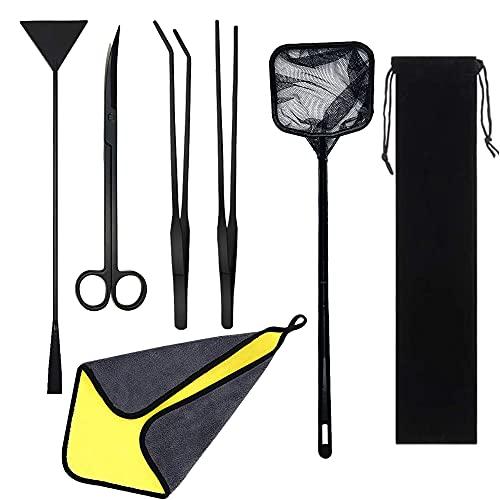 Cayway 7 PCS Herramientas de Acuarios de Acero Inoxidable, Aquarium Aquascaping Kit, Kit de Tanque de Acuario Pinzas Tijera Espátula Herramientas Set para Planta Acuática ✅
