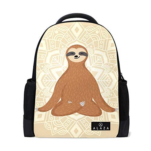 Linda mochila de yoga de 14 pulgadas para laptop de Sloth bolsa para viajes universitarios y escuelas