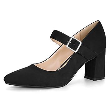Allegra K Women s Block Heel Pointed Toe Black Mary Jane Pumps - 6 M US